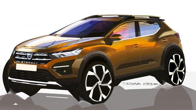 Schets Dacia Sandero driekwart voor
